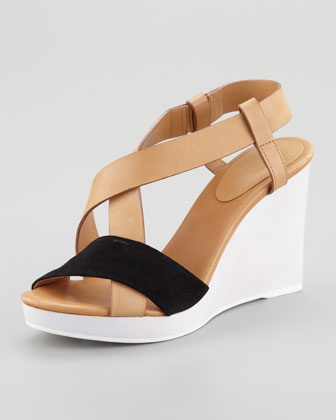 Colorblock Wedge Slingback Sandal