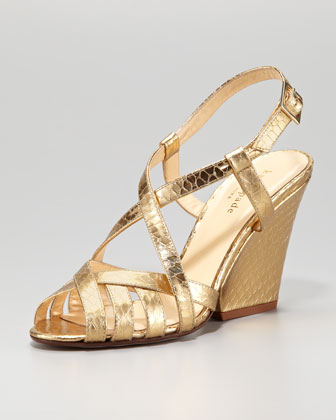 imagine metallic snake-embossed sandal