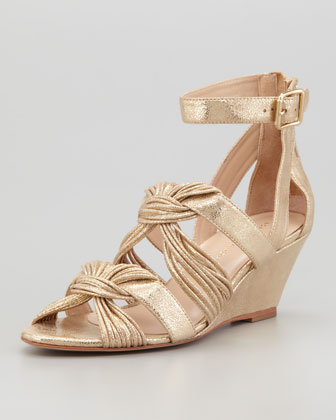 Alana Metallic Mid-Wedge Sandal, Gold