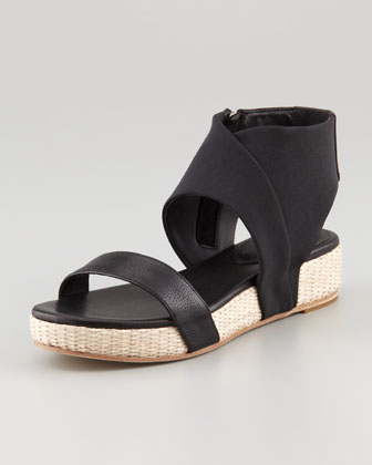 Slot Stretch Ankle-Wrap Flatform Sandal