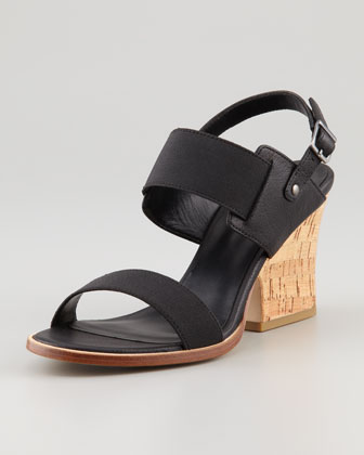 Plex Stretch Wedge Sandal, Black