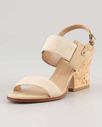 Plex Stretch Wedge Sandal, Linen