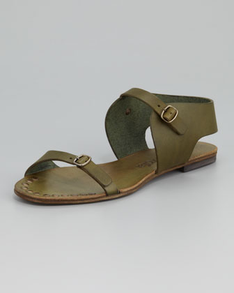 Gillian Flat Leather Sandal, Olive