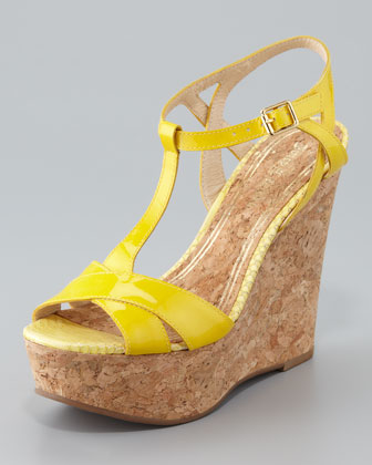 Dakota Cork Wedge Sandal, Bright Yellow