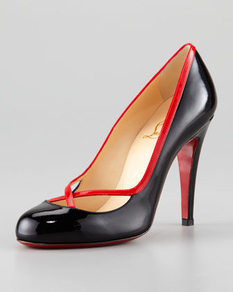 Cross Ronda Patent Pump, Black/Rouge