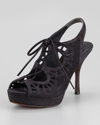 Quon Ghilly Lace-Up Suede Sandal, Black