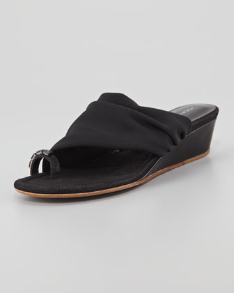 Delia Crystal Toe Ring Stretch Wedge Sandal, Black