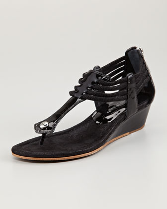 Dyna Rope-Strap Wedge Sandal, Black