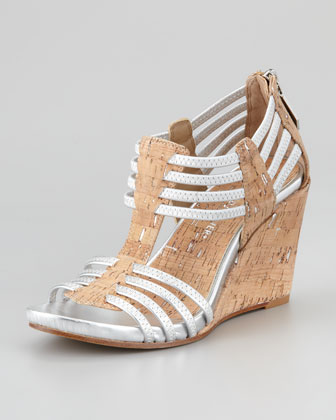 Ginnie Metallic Stretch Cork Wedge Sandal, Natural/Silver
