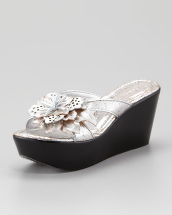 Shann Distressed Metallic Floral Wedge Sandal, Silver