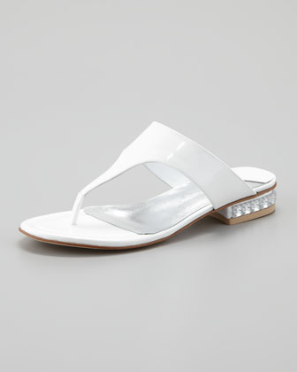 Connie Jewel-Heel Thong Sandal, White Pearl