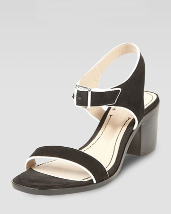 Ryann Tipped Leather Mid Sandal, Black