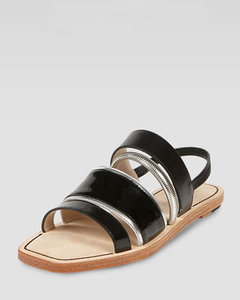 Nicki Mixed Media Slingback Flat Sandal, Black