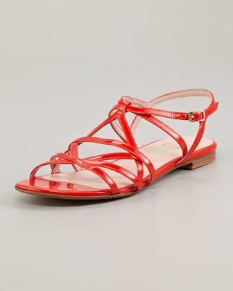Transito Strappy Flat Sandal, Poppy Red