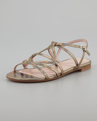 Transito Strappy Flat Sandal, Steel Gray