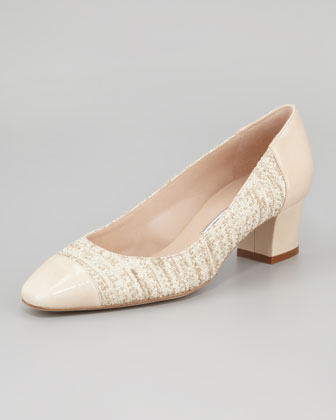 Patent Cap Toe Tweed Pump