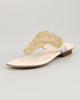 Yanna Braided Flat Thong Sandal, Natural Frost