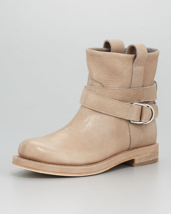 Crackled Leather Ankle Boot, Mushroom