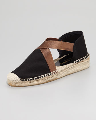 Lasso Stretch Metallic Espadrille, Black/Bronze