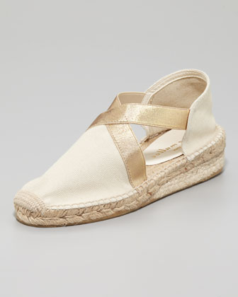 Lasso Stretch Metallic Espadrille, Natural/Gold