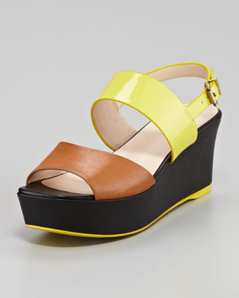 Teddy Colorblock Platform Sandal