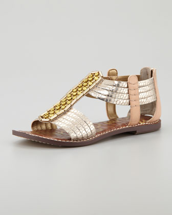 Metallic Snake-Embossed Sandal