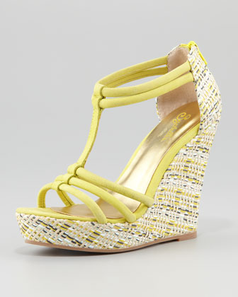 Gasp Woven-Wedge Sandal, Yellow