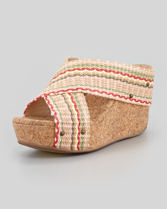Gravity Striped Raffia Wedge