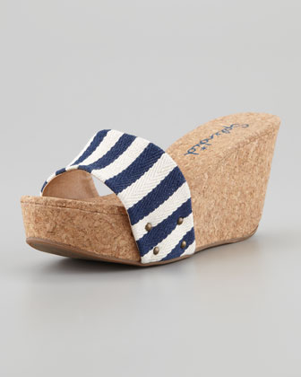 Greenville Cork Wedge Slide, Navy