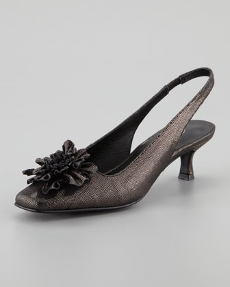 Soho Metallic Slingback Pump with Flower Detail, Pewter