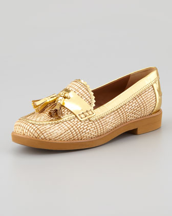 Careen Metallic-Raffia Runway Tassel Loafer