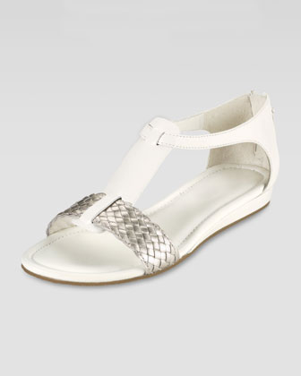 Jaycee Low-Wedge Sandal, Ivory