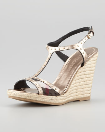 Studded Metallic T-Strap Espadrille Wedge