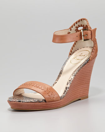 Harper Braided Wedge Sandal, Cognac