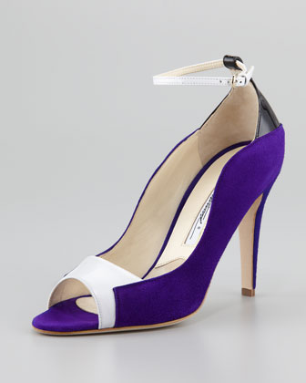 Evie Contoured Suede Ankle-Wrap Pump, Purple/Black/White