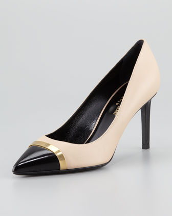 Paris Cap-Toe Pump, Beige/Black