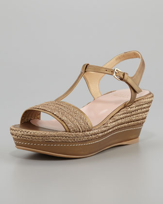 Flatty Metallic Raffia Flatform Wedge Sandal, Gold