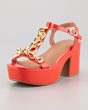 Yasmine Platform Sandal, Orange