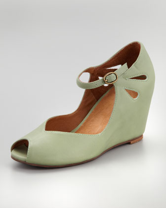 Regina Peep-Toe Wedge, Green