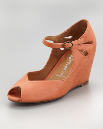 Regina Peep-Toe Wedge, Orange