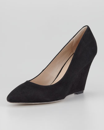 Mai Suede Wedge Pump, Black