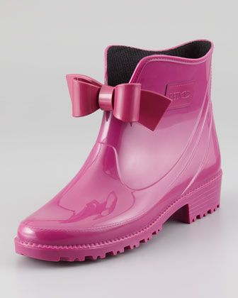 Bow-Front Short Rain Boot, Raspberry