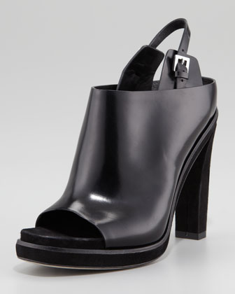 Kendra Open-Toe Polished Leather Mule, Black