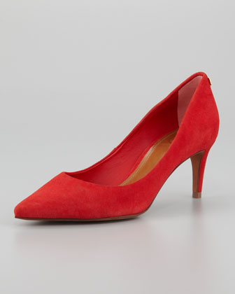 Ivy Pointed-Toe Suede Pump, Red
