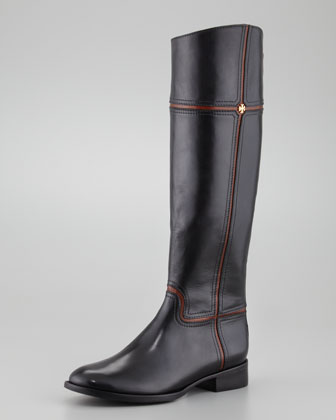 Juliet Two-Tone Riding Boot, Black/Almond