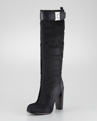 Camille Snake-Textured Calf Hair Boot