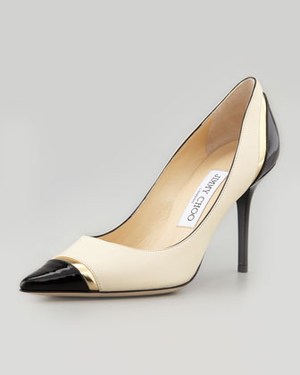 Lilo Cap-Toe Pump, Bone/Gold/Black