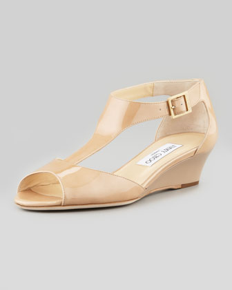 Treat Patent T-Strap Wedge Sandal