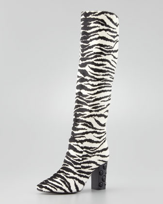 Tiger-Print Pull-On Knee Boot, White/Black