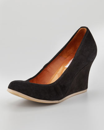 Suede Ballerina Wedge Pump, Black